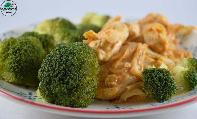 Brocoli vapor + pollo salsa almendras fitness light AGUSTITOS (2)